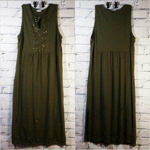 Beaded Sequin Maxi Dress Sleeveless Tassel Keyhole